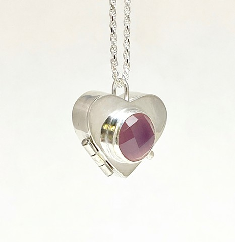 Rose Cut Lilac Chalcedony Locket