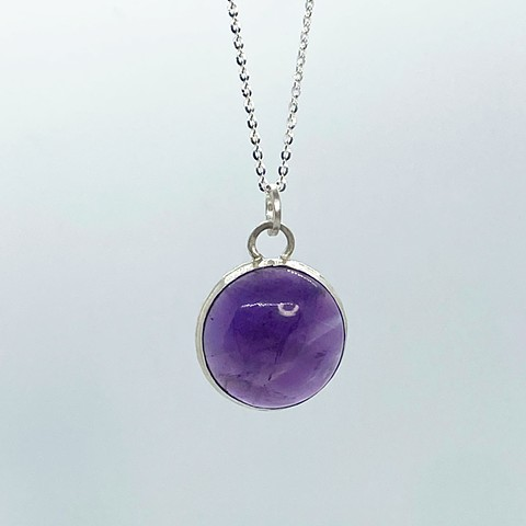 20mm Round Amethyst on Sterling Silver Chain