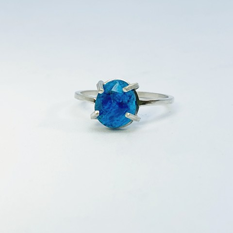 Rose Cut Neon Blue Apatite Ring