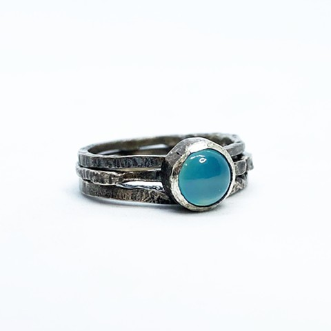 Sterling Silver and Aqua Chalcedony Stacking Rings