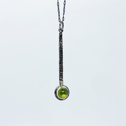 Vesuvianite and sterling silver pendant on sterling silver chain