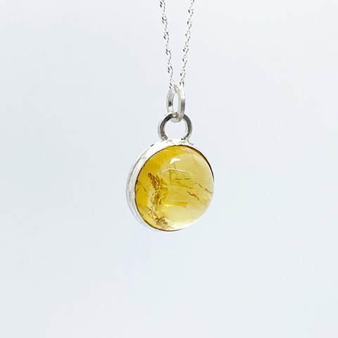 16mm Round Citrine on Sterling Silver Chain
