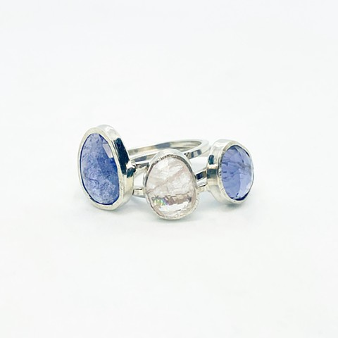 Tanzanite, Morganite, and Iolilte Rings
