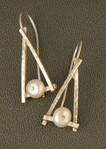Sterling silver earrings with freshwater pearl