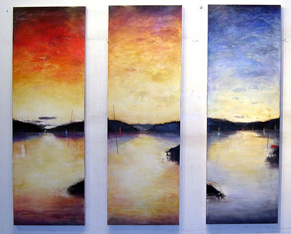 Three part landscape painting