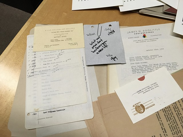 """""""Archive Pull Card (Letters to the Archive)"""" from the audience. Patrons were invited to produce intuitive or educated Pull Cards from the exhibition archive. The archivist would pull though the archive to find a corresponding exhibition to the card."""