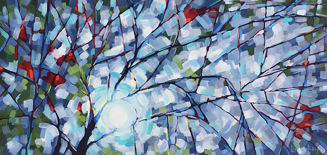 SOLD - Early Winter Blues, 40x20, acrylic on canvas