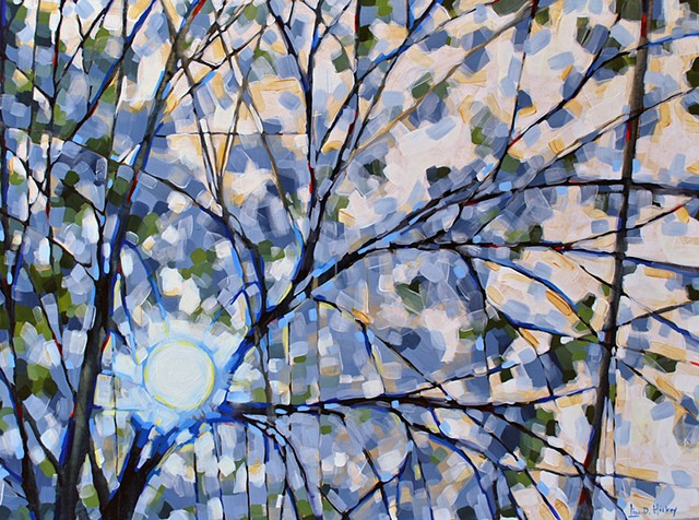 Twilight Through the Leaves, 48x36, acrylic on canvas