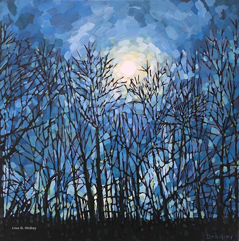 SOLD - Moonlight in the Forest, 36x36, Acrylic on canvas,