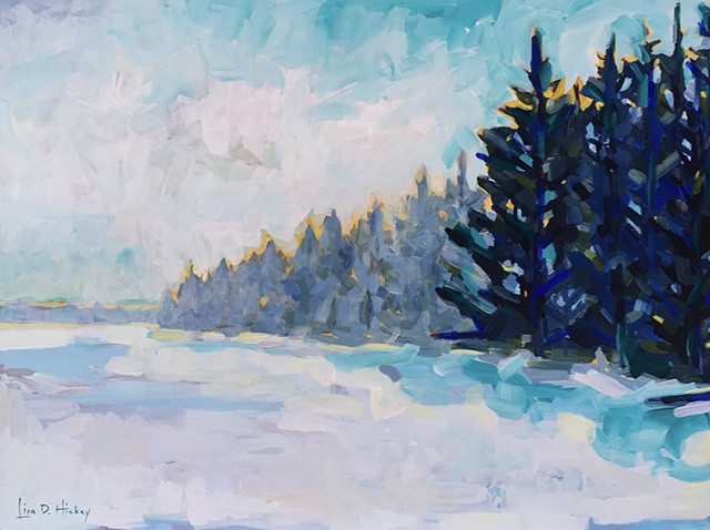 Walk Acoss the Frozen Lake, 48x36, acrylic on canvas
