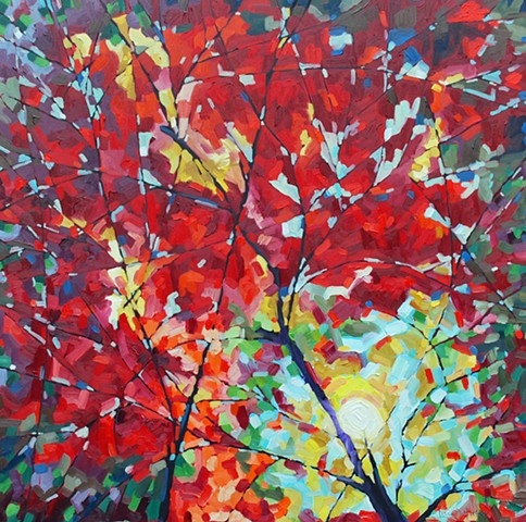 SOLD - Autumn Rainbow, 36x36, oil on Canvas