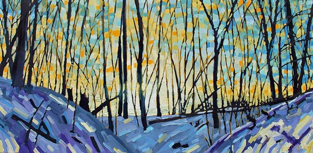 SOLD! - Sunset on the Trail, 40x20, oil on Canvas