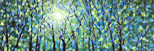 July Blues, 30x10, acrylic on canvas