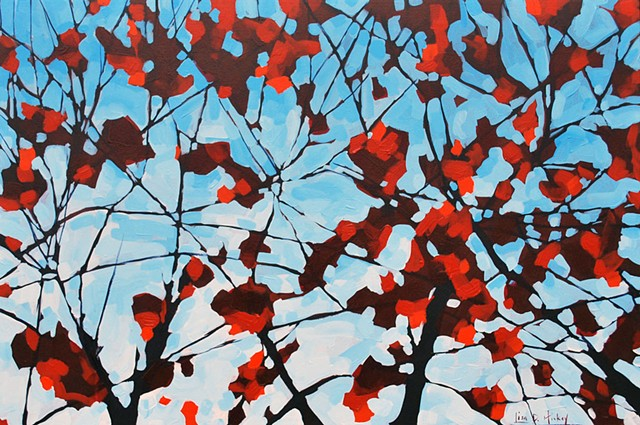 Strong November Maple, 36x24, acrylic on canvas