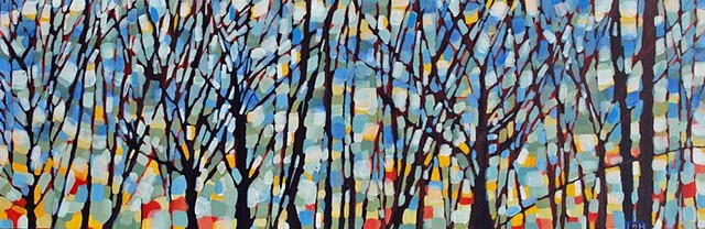 SOLD! Twilight in the Trees, 30x10, Acrylic on Canvas