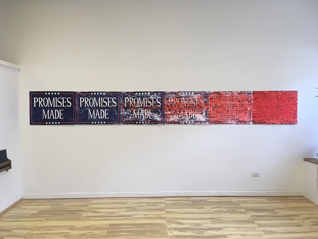 installation view of Promises made