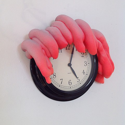 wall clock, insulating foam, paint