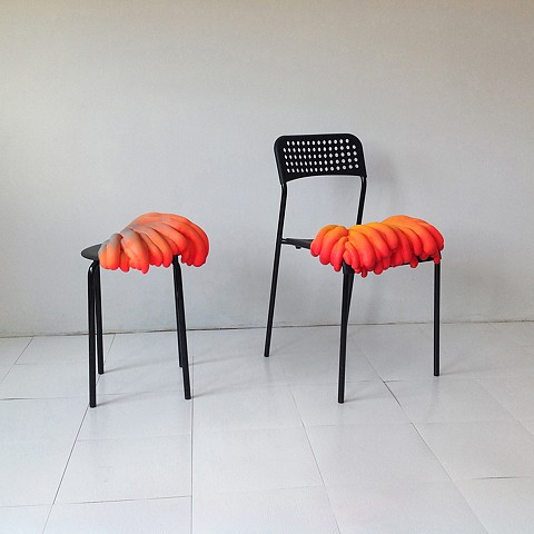 ikea chairs transformed into sculptures
