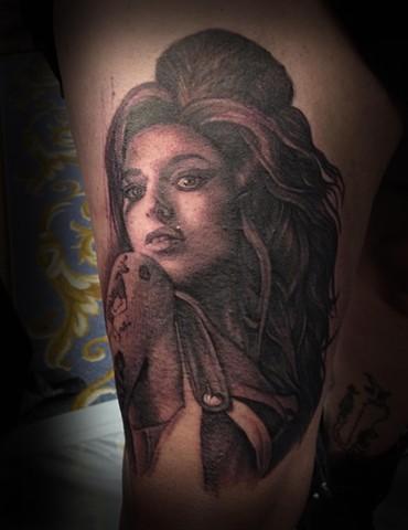 Ron Meyers Amy Winehouse Portrait Tattoo