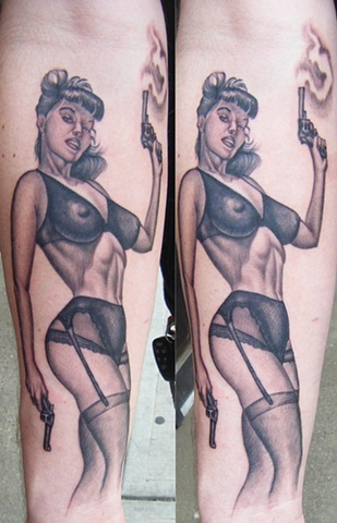 Ron Meyers - Bettie Page on Forearm