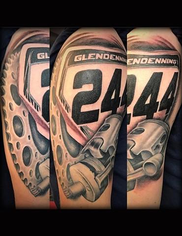 Ron Meyers - Dirt Bike half sleeve tattoo