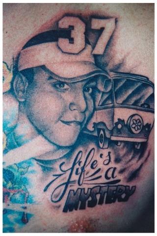 Ron Meyers - Memorial tattoo for Steve Buress on Chris Czarnecki