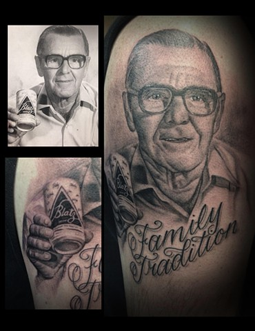 Ron Meyers Grampa Portrait Tattoo