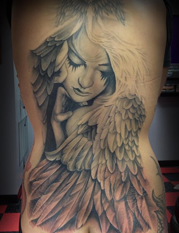 Ron Meyers - Nikki's Angel Back Piece Tattoo