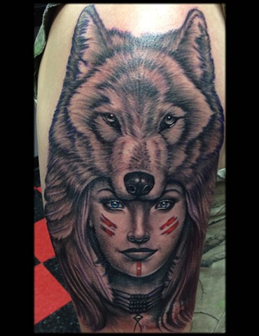 d6d7f69f6 Low Lock tattoo Studio - Ron Meyers - Indian Girl W/Wolf Headdress ...