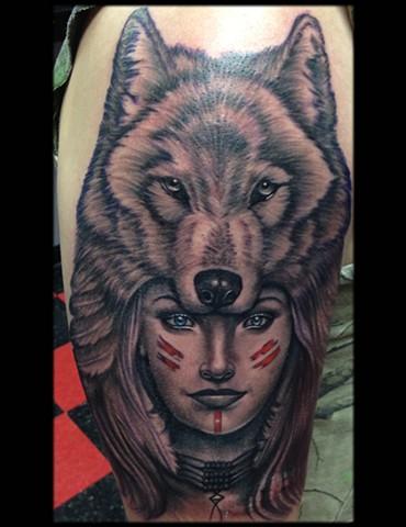 Ron Meyers - Indian Girl W/Wolf Headdress Tattoo