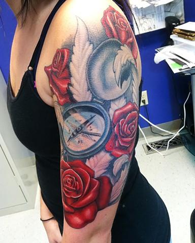 Ron Meyers - Roses & Compass half Sleeve Tattoo
