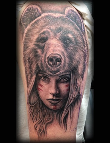 6d808f43e Low Lock tattoo Studio - Ron Meyers - Indian Girl with Bear ...