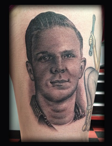 Ron Meyers Brett's Pap Portrait Tattoo