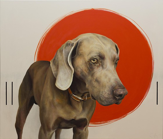 a contemporary painting of a sport a dog with red circle- weimaraner