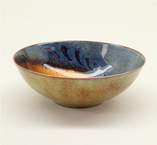 Copper enameled bowl.