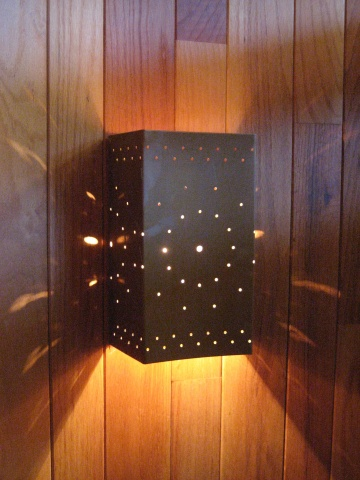 Perforated Copper Wall Light Fixture