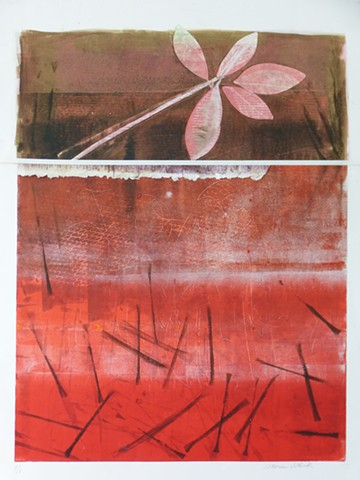 red black white monotype mixed media abstract brown leaf lines