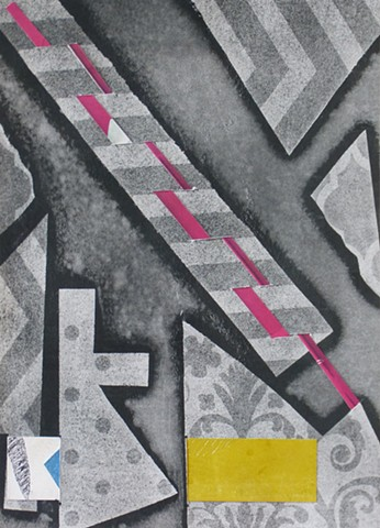 monotype collage gray pink yellow graphic vertical abstract stripes
