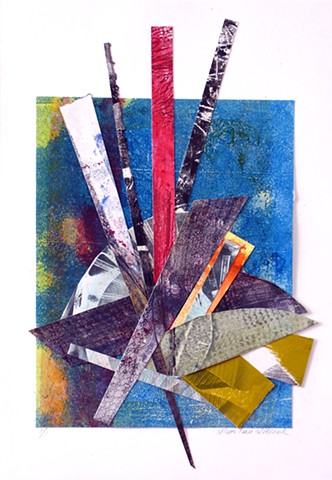 collage multicolored blues reds white yellow black gray greens vertical abstract