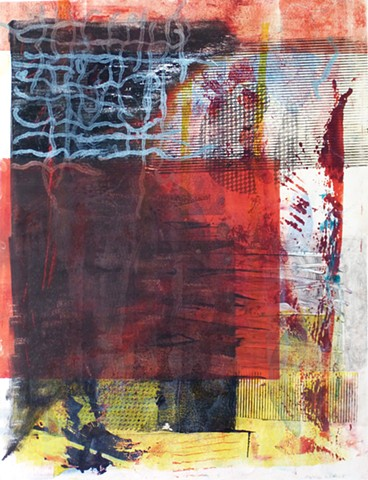 red black white monotype mixed media abstract multicolored vertical