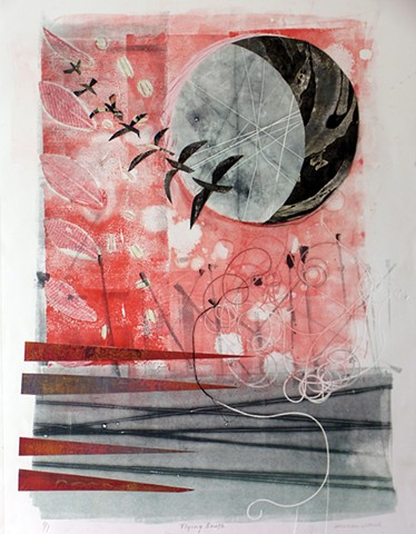 red black grey gray birds abstract sun moon white