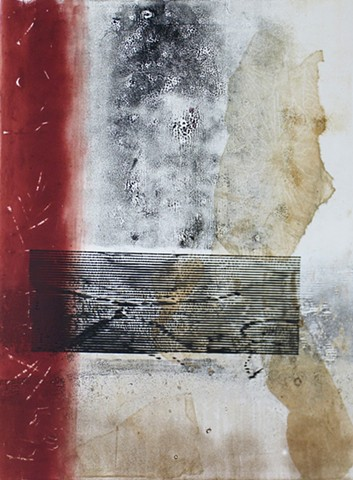 monotype red black brown white abstract