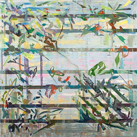 Abstract oil painting by Kellie Lehr.  Layers, white, bright colors, glitch, digital, nature, plants