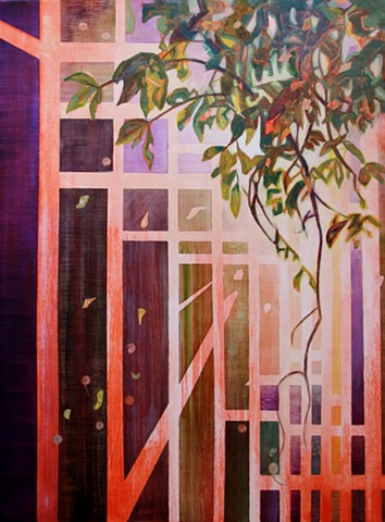 Oil painting by Kellie Lehr.  Tree branch, grid, red, green, purple, light, abstraction
