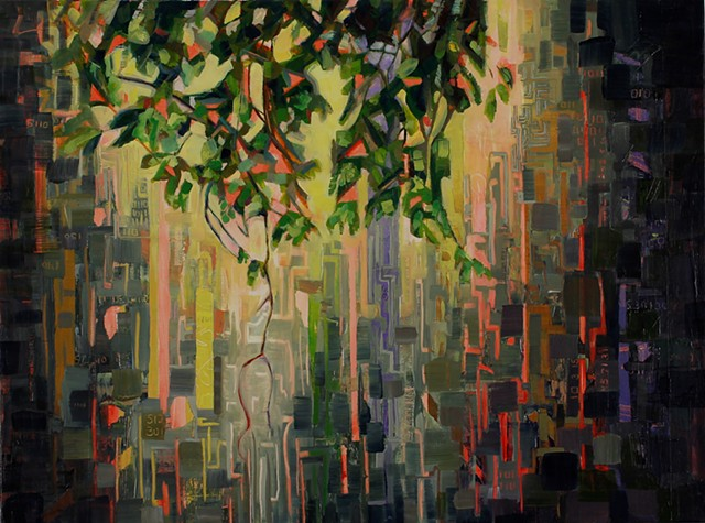 Oil painting by Kellie Lehr.  Nature, digital, numbers, light, layers.  Contemporary art, fine art, modern art.