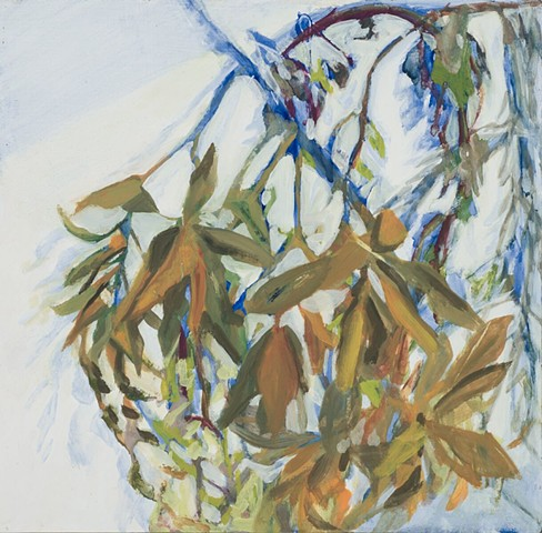 Oil painting of magnolia leaves by Kellie Lehr.  White, electric blue, movement, shadow, nature