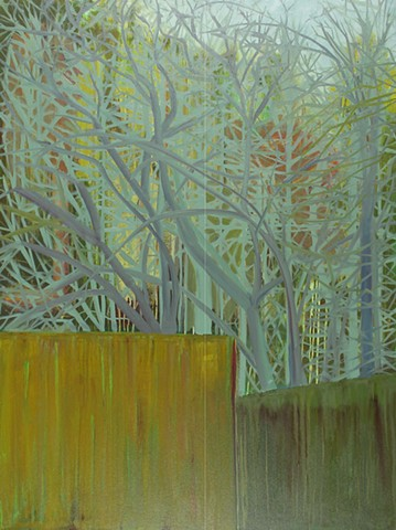 Landscape oil painting by Kellie Lehr.  Trees, forest, gate, mystery, abstraction, nature.  Modern art, contemporary art.
