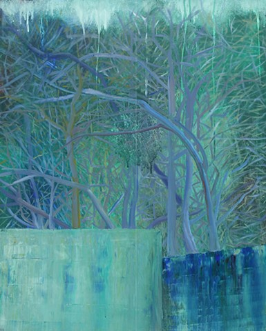 Abstract oil painting by Kellie Lehr.  Mystery, blue, trees, nature, gate.
