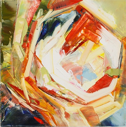 Abstract oil painting by Kellie Lehr.  Red, yellow, blue, vortex.  Modern art, contemporary art, fine art.