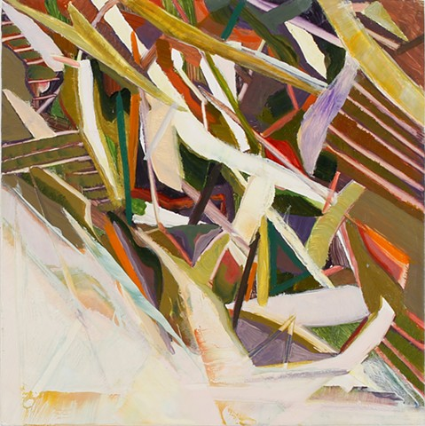 Abstract oil painting by Kellie Lehr.  White, orange, green, falling, compression.  Contemporary art, modern art, fine art.